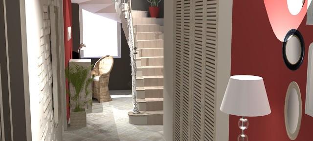 Rénovation d'une entrée et d'une cage à escalier