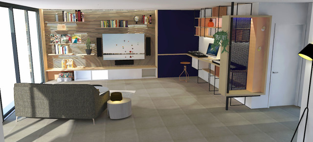 Composition d'aménagements sur-mesure dans une pièce à vivre