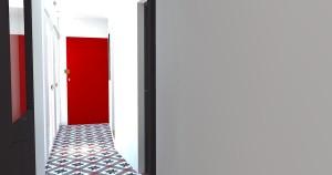 Vue 3D de l'entrée et du couloir